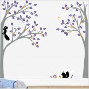 Adesivo Quarto Infantil Arvore Esquilos Zoo Md346