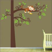 Adesivo Quarto Infantil Arvore Macaquinho Zoo Md26
