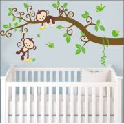 Adesivo Quarto Infantil Arvore Passaro Macaco Zoo Md490