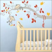 Adesivo Quarto Infantil Arvore Passaro Macaco Zoo Md495