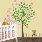 Adesivo Quarto Infantil Arvore Ursinho Zoo Md285
