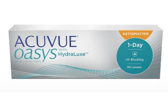Acuvue Oasys 1-Day com Hydraluxe Astigmatismo Caixa com 30 lentes (15 pares) do mesmo grau  - Lentes de Contato MAF