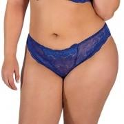 Calcinha Plus Size Azul em Renda Transparente - PL228-PL227