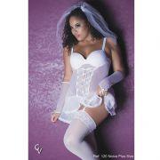 Fantasia Plus Size Noiva Sexy com Véu Branca - GVP120