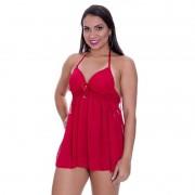 Camisola Frente Única Transparente com Bojo Brenna Vermelha - SS016