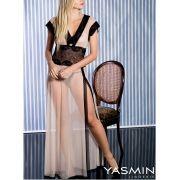 Camisola Longa Nude em Tule e Renda Transparente  com Calcinha - YMNU02