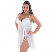 Camisola Plus Size Transparente em Renda e Tule com Bojo Olivia - MS1684