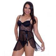 Camisola Transparente em Renda e Tule com Bojo Olivia Preta - MS1419