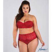 Conjunto de Lingerie Plus Size Tomara que Caia Vermelho em Renda com Bojo - PL226250