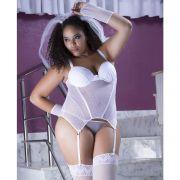 Espartilho Plus Size Branco Noiva em Tule com Véu e Luvas  - GV336P