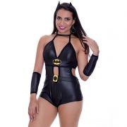 Fantasia Erótica Batgirl Feminina de Macaquinho com Luvas e Tiara - EK2047