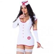 Fantasia Erótica Enfermeira Persefone + Meia Arrastão 7/8  - GV294