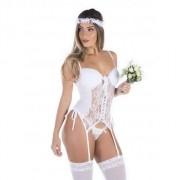 Fantasia Erótica Noiva Sexy com Véu + Meia 7/8 de Tule - VT250