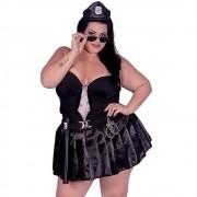 Fantasia Plus Size Erótica Policial Patente Alta + Cassetete + Algema - EK2103-2117