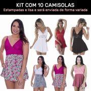 Kit 10 Camisolas Estampadas em Liganete e Renda - ES108k