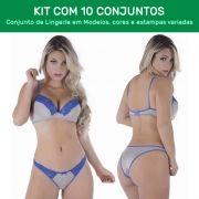 Kit 10 Conjuntos de Calcinha e Sutiã com Bojo  - ES106K