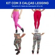 Kit 3 Calças Legging Fitness Suplex e Tecido Bolha para Academia Tamanho G - ES101K