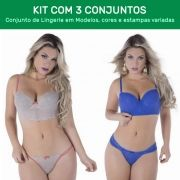 Kit 3 Conjuntos de Calcinha e Sutiã com Bojo  - ES104K