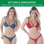 Kit 5 Conjuntos de Calcinha e Sutiã com Bojo  - ES105K