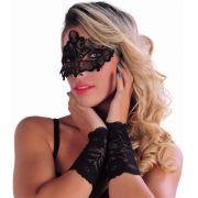 Kit com Máscara e Luva de Renda Preta Vermelho ou Branco - DM420
