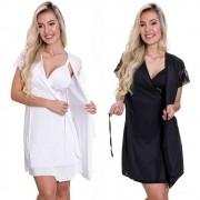 (Kit-V10) - 2 Camisolas Amamentação Com Robe em Microfibra 1 Branca e 1 Preta - ES206-207