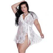 Robe Plus Size em Renda Transparente com Fita de Cetim - EK5018