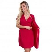 Robe Vermelho em Microfibra e Renda - ES207