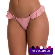 (KIT-V123) - 5 Calcinhas Fio Dental Preta, Vinho, Branca, Rosê e Rosa - MF1244