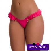 (KIT-V125) - 3 Calcinhas Fio Dental 1 Preta 1 Rosa e 1 Branca - MF1244
