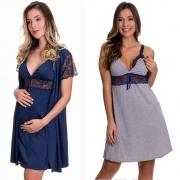 (KIT-V132) - 1 Camisola Amamentação com Robe Azul Marinho +  1 Camisola Amamentação Cinza com Azul - ES206-207-ES220