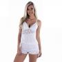 Baby Doll Plus Size Branco ou Preto em Liganete e Renda Ísis - ME40012PL