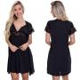 (KIT-V135) - Camisola Amamentação com Robe Preta  + Sutiã Amamentação Preto - ES206-207-DM523
