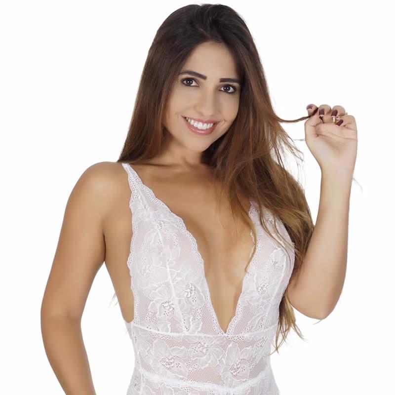Body Branco Transparente Sensual em Renda com Decote - GL3360