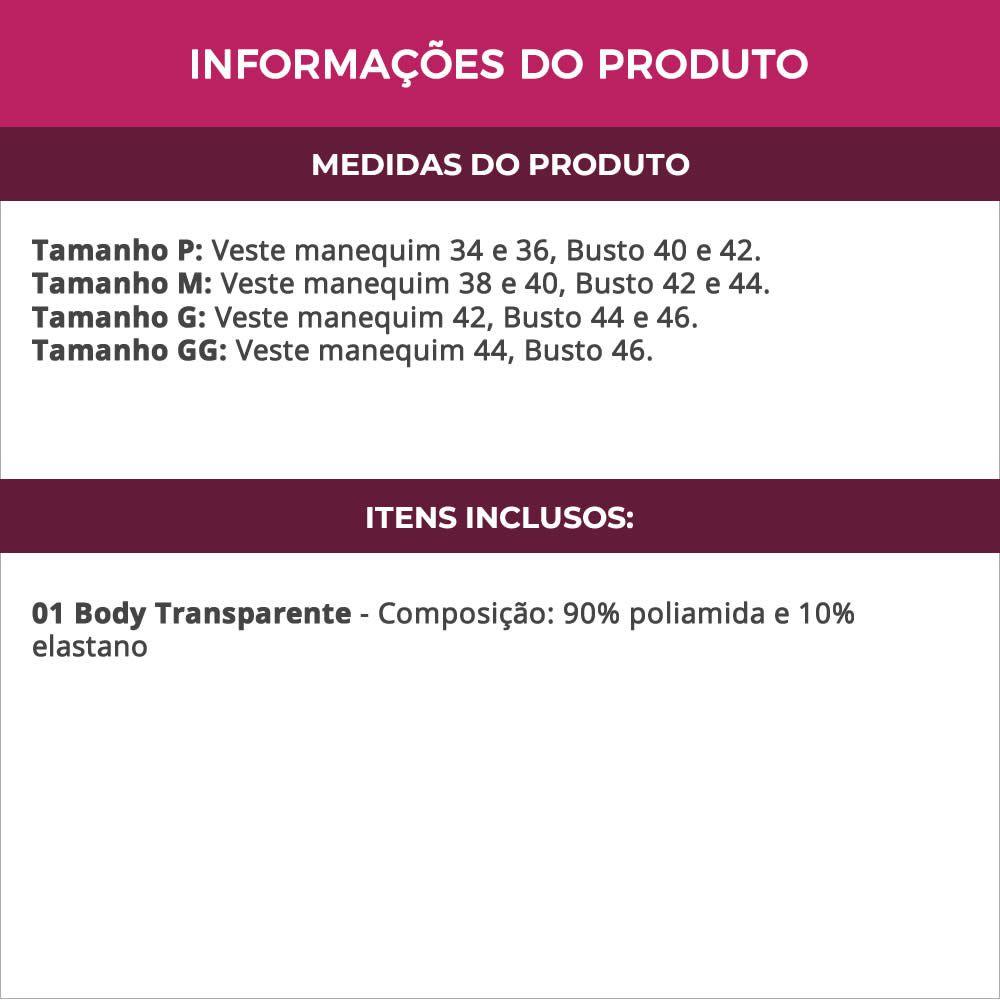 Body em Microfibra e Tule Transparente Preto ou Branco - VF03