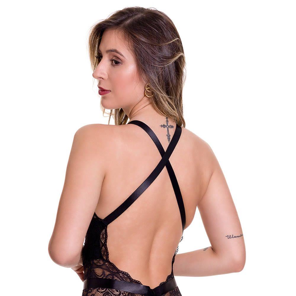 Body em Renda Transparente com Fita - LB1111