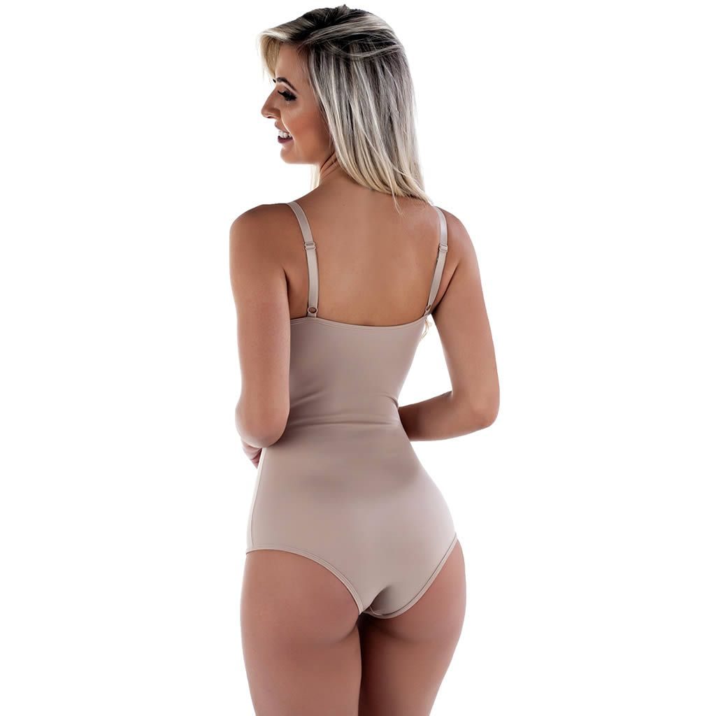 Body modelador Bege Com Bojo Pós parto com compressão abdominal - LP30051