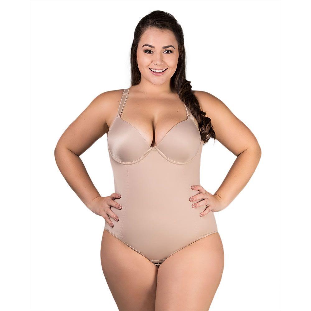 Body Plus Size Modelador Redutor de Medidas Com Bojo e Alças Removíveis Bege ou Preto - PL203-294