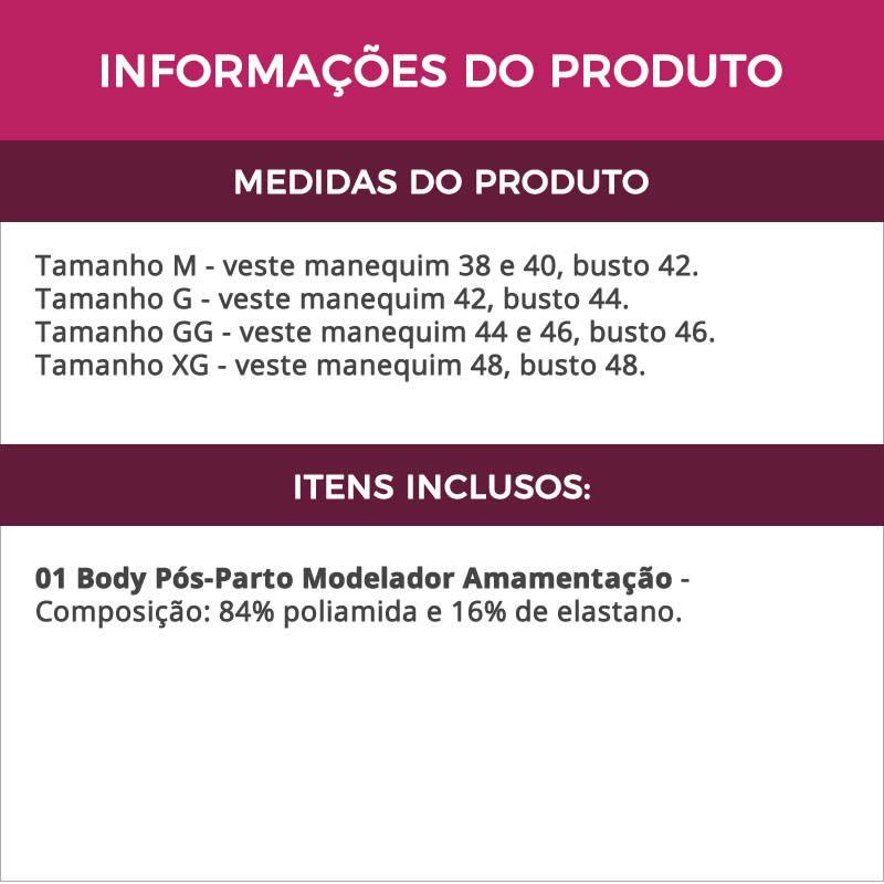 Body Pós Parto Modelador Sem Bojo para Amamentação Castanho, Bege e Preto - TV4282
