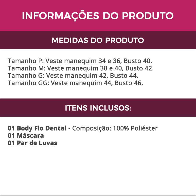 Body Preto em Cirrê Tiazinha com Máscara e Luvas - GV2006