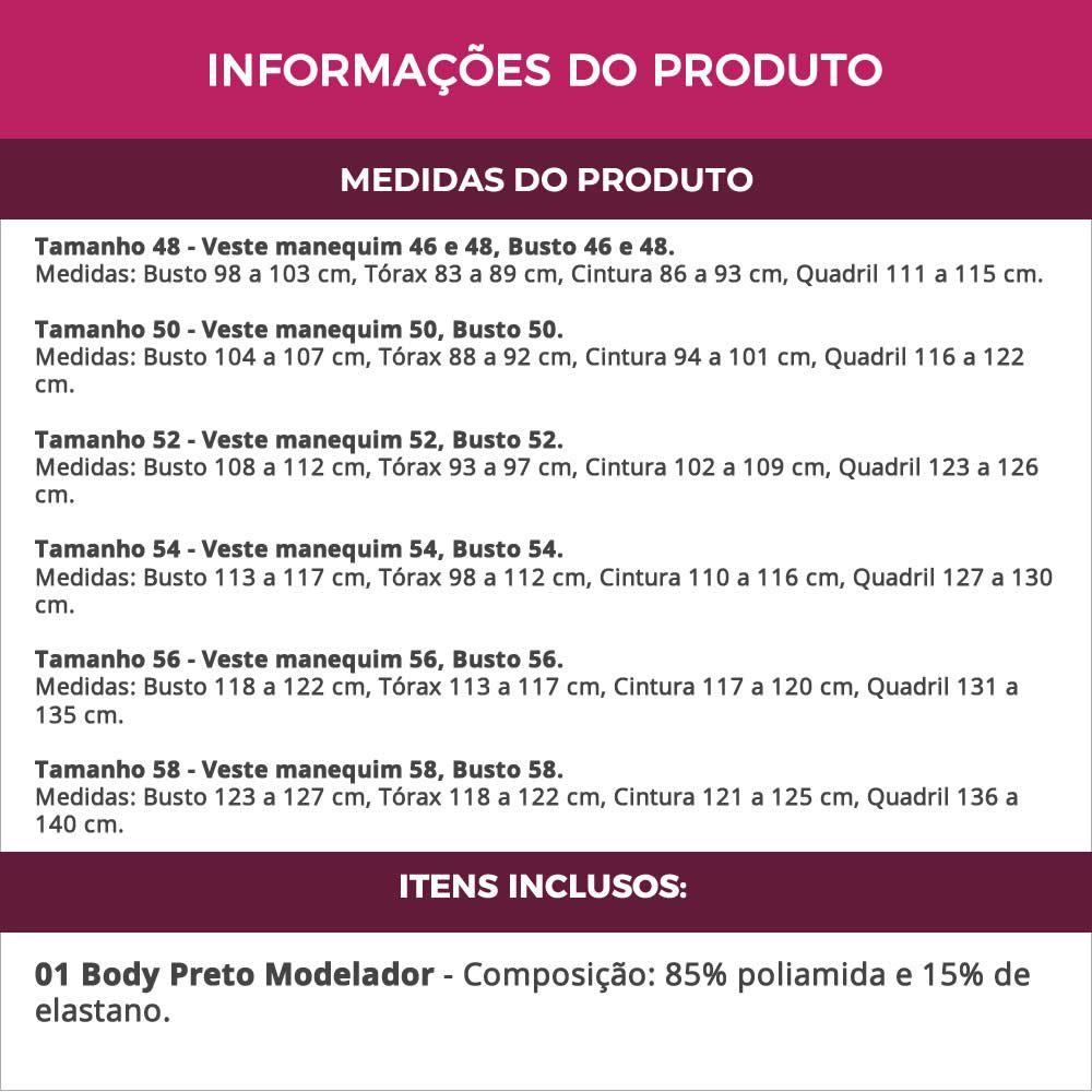 Body Preto Modelador Redutor em Cetinete e Renda com Bojo - PL281-282-293
