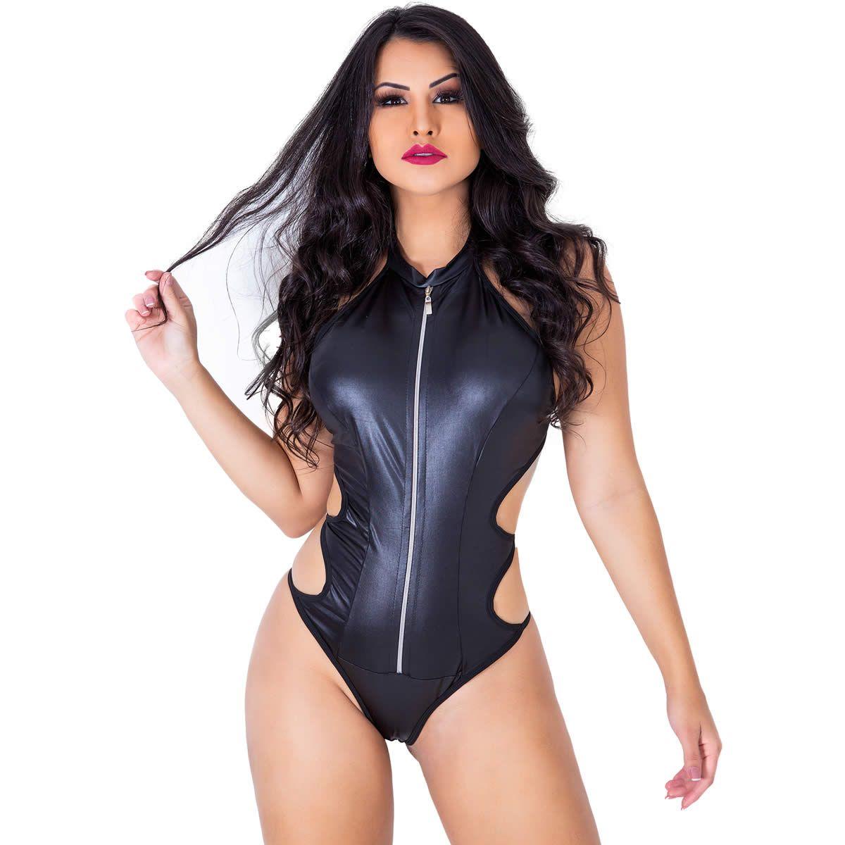 Body Preto Sexy Gladiadora em Tecido Cirrê e Zíper  - GV386
