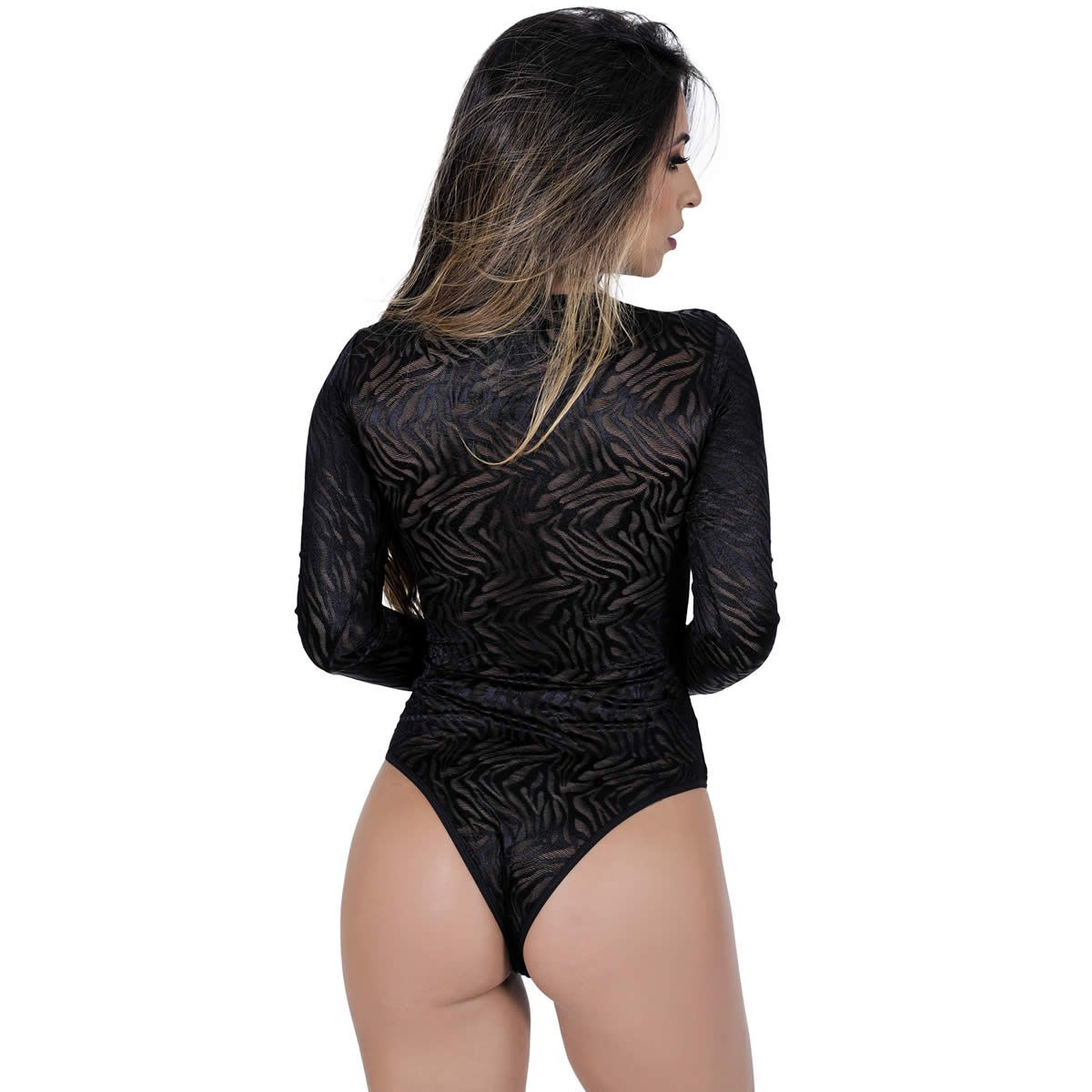 Body Preto Transparente em Tule Animal Print - GL513