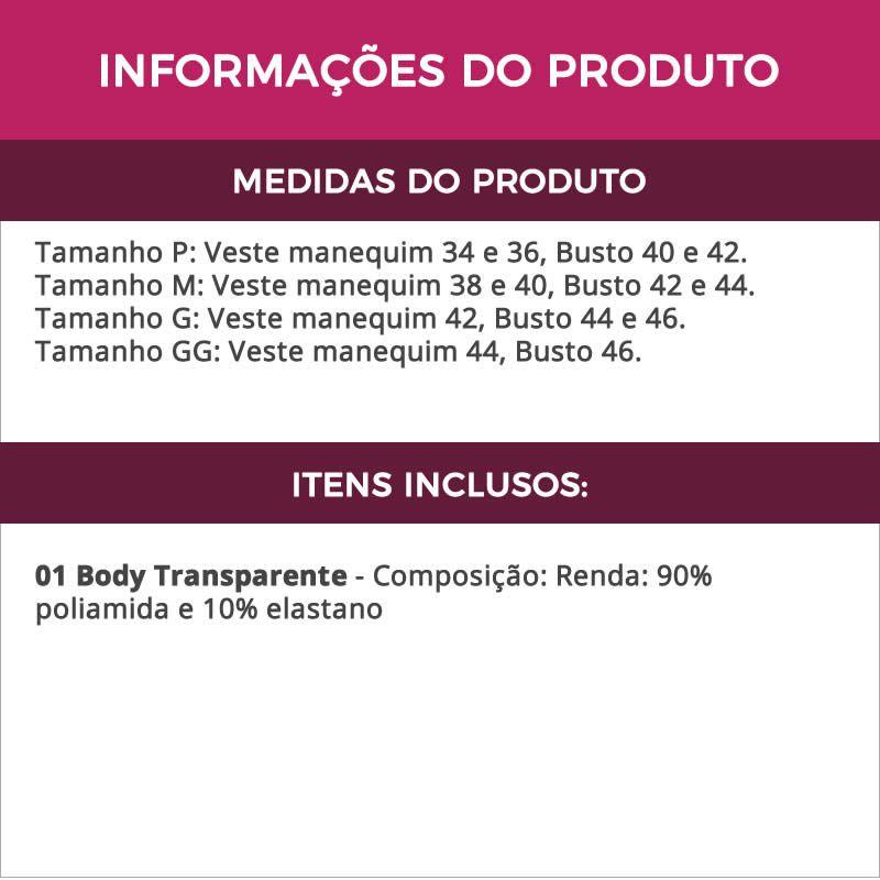 Body Preto Transparente Sensual em Renda com Decote - GL3360