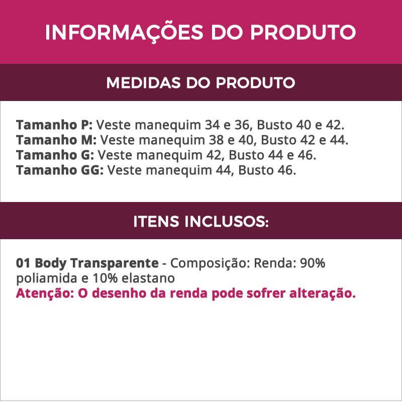 Body Preto Transparente Sensual em Renda Renata - GL363
