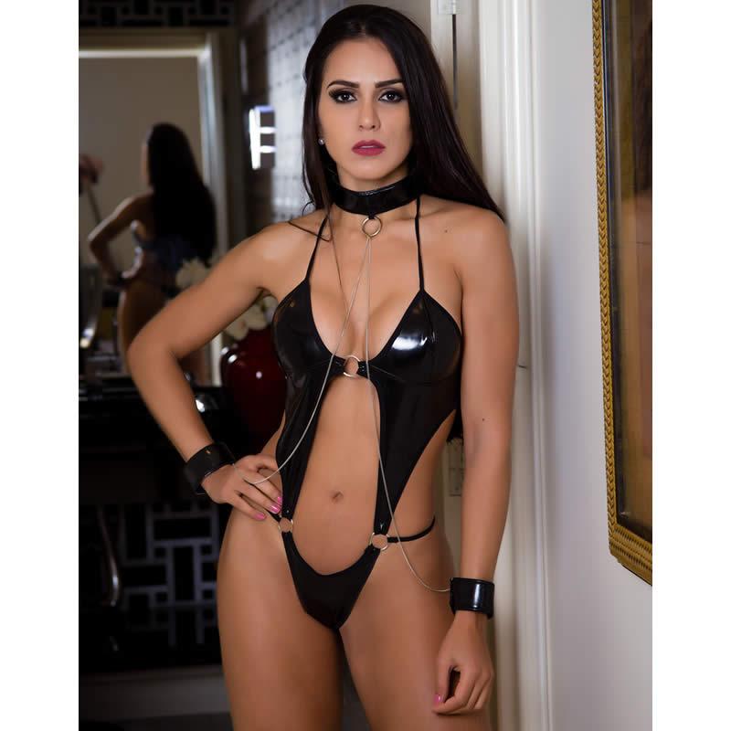 Body Sensual Preta em Vinil com Algemas - GV165