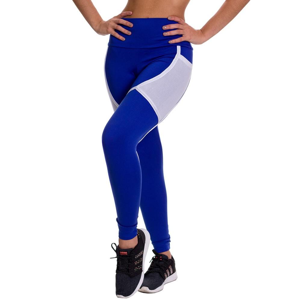 Calça Legging Fitness Suplex Lisa Azul com Faixa Branca - DM730