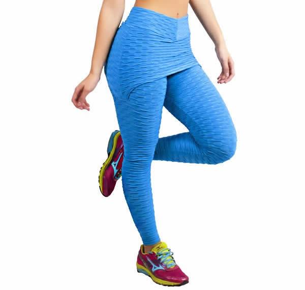 Calça Legging Fitness Tecido Bolha Suplex com Tapa Bumbum Rosa Preta ou Azul - KSF225
