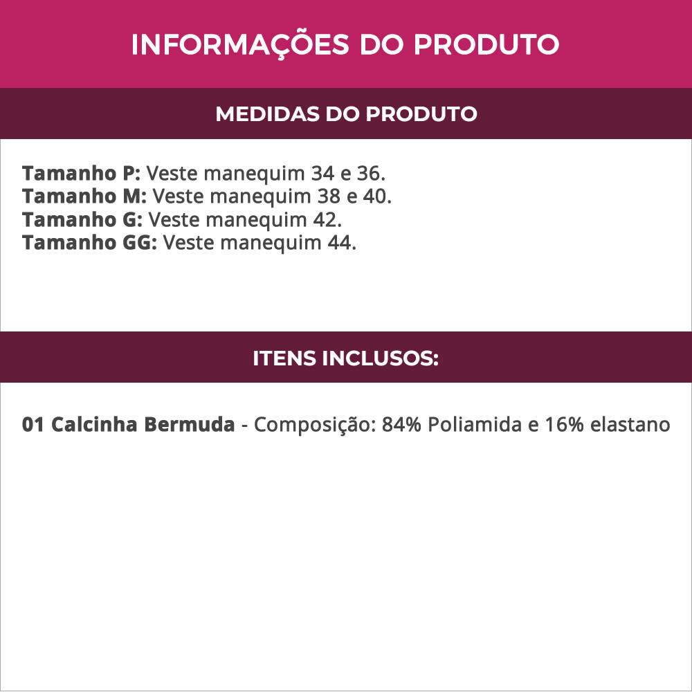 Calcinha Bermuda Cintura Alta em Microfibra e Renda - TV5034