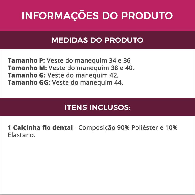 Calcinha Fio Dental Branca de Microfibra e Renda - VF16