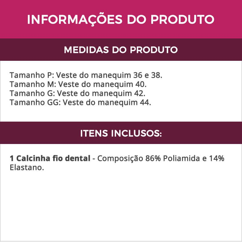 Calcinha Fio Dental em Microfibra e Renda Preta Lilás Azul ou Vermelha - DR190